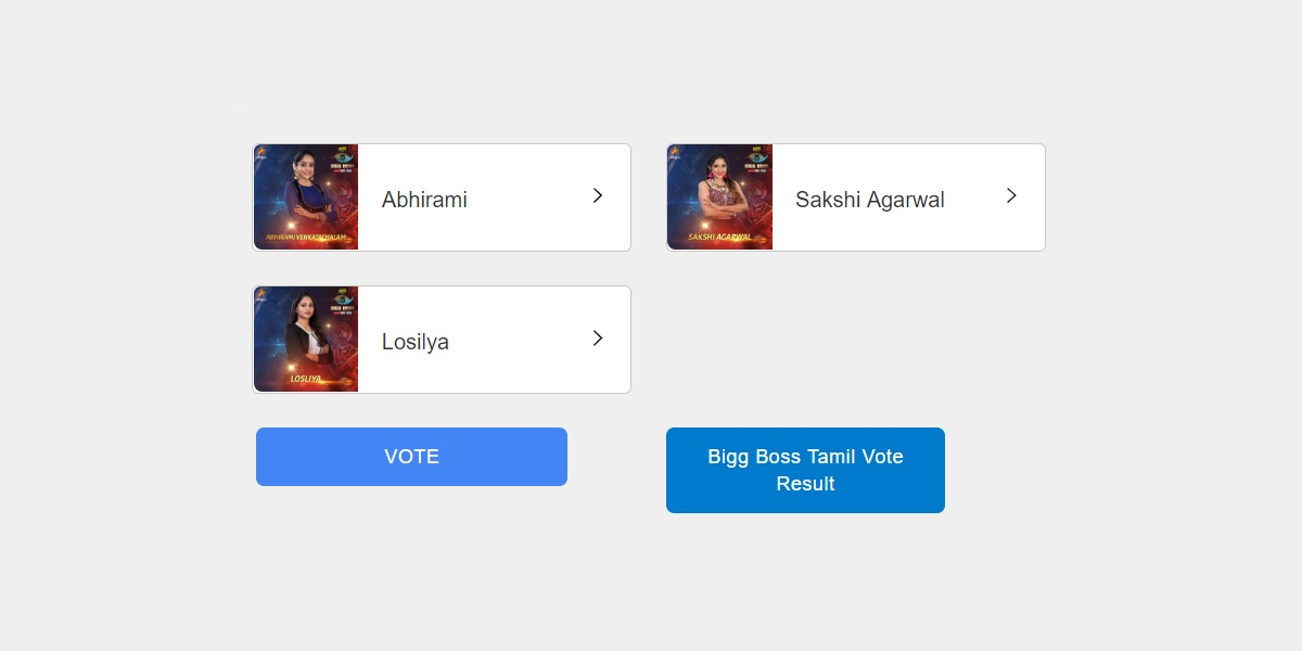 Bigg Boss Tamil vote - Season 3 - Online Voting - Results