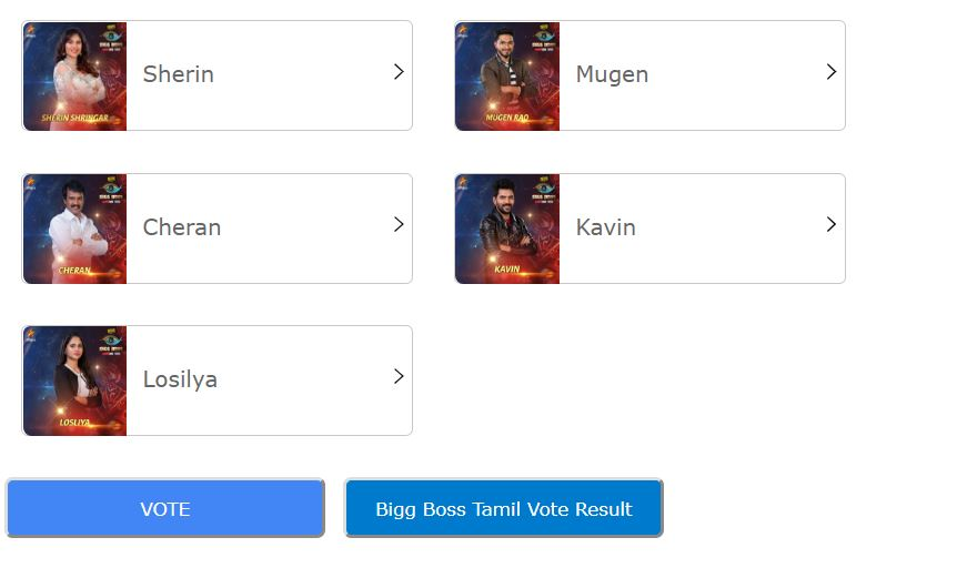 Bigg Boss Tamil - Season 3, Online Voting, Contestants, Eviction